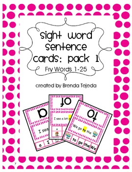 Fry Sight Words 1-25 Word and Sentence Cards