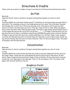 Fry Sight Words 101 through 200 Game Cards