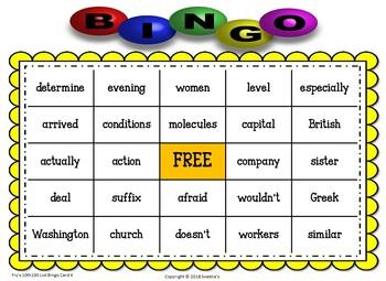 Fry Sight Words 10th 100 List Bingo