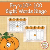 Fry Sight Words 10th 100 List Bingo Autumn