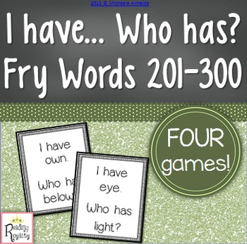 Fry Sight Words 201-300: I have, Who has?