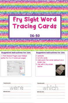 Fry Sight Words Tracing Cards 26-50