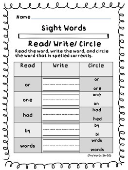 Fry Sight Words (26-50) Read/ Write/ Circle