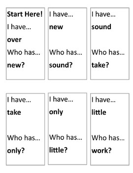 Fry Sight Words-2nd Hundred List: I Have...Who Has... Game