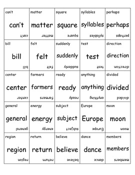 Fry Sight Words 501 through 600 Game Cards