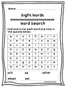 Fry Sight Words (51-100) Word Searches