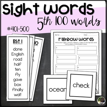 Fry Sight Words- 5th 100- List, Bookmarks, Flashcards, Activity