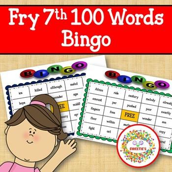Fry Sight Words 7th 100 List Bingo