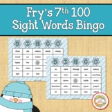 Fry Sight Words 7th 100 List Bingo Winter