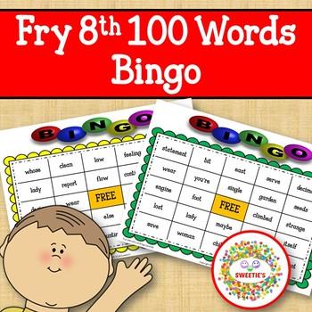 Fry Sight Words 8th 100 List Bingo