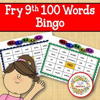 Fry Sight Words 9th 100 List Bingo