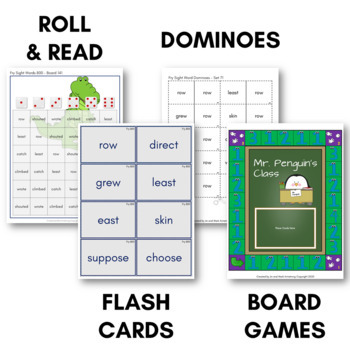 Fry Sight Word Game Pack (Eighth Hundred) - Bingo, Dominoes, and Board Games