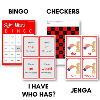 Fry Sight Words Bingo - First Hundred in Color or B&W