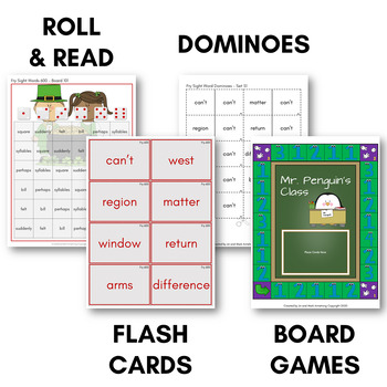 Fry Sight Word Game Pack (Sixth Hundred) - Bingo, Dominoes, and Board Games