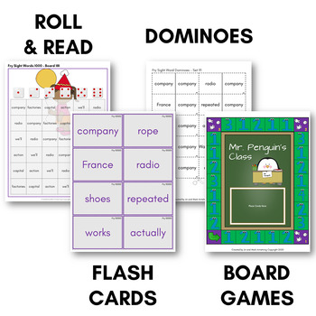 Fry Sight Word Game Pack (Tenth Hundred) - Bingo, Dominoes, and Board Games