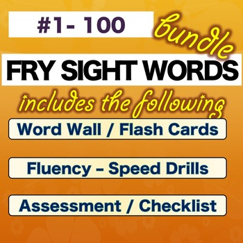 Fry Sight Words – FIRST 100 – Numbered 1-100   * BUNDLE * NO PREP