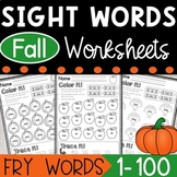 Fry Sight Words Fall Coloring Worksheets - The first 100 Sight Words