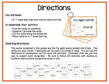 Fry Sight Words Flashcards
