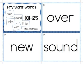 Fry Sight Words Flashcards by Make Take Teach | Teachers Pay Teachers
