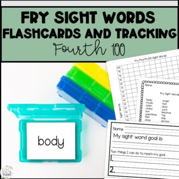 Fry Sight Words Fourth 100 flashcards and Student Tracking