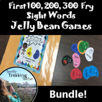 Fry Sight Words Game - 1st 100, 200 and 300 - Jelly Bean Challenge (BUNDLE)