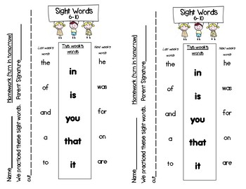 Fry Words 1 - 100 : Homework Lists