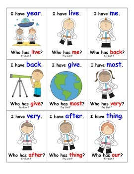Fry Sight Words I Have, Who Has?