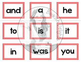 Fry Sight Words - List One Flash Cards and Matching Game -