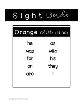 Fry Sight Word Progress Monitoring - Second 10 Words - Orange Ice Cream Club