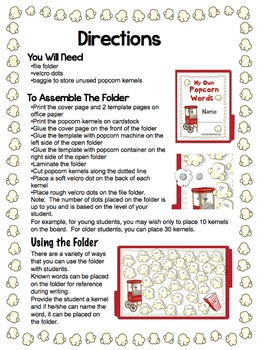 Fry Sight Words Popcorn File Folder Activity