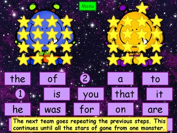 Halloween Fry Sight Words Kindergarten PowerPoint Game