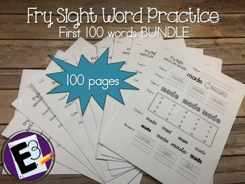 Fry Sight Words Practice (First 100 words BUNDLE)