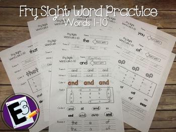 Fry Sight Words Practice (words 1-10)
