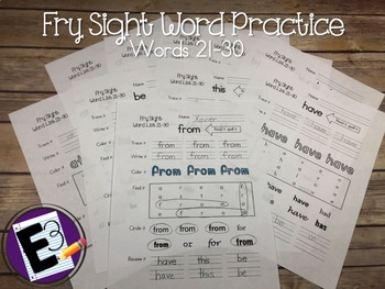 Fry Sight Words Practice (words 21-30)