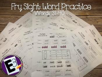 Fry Sight Words Practice (words 31-40)