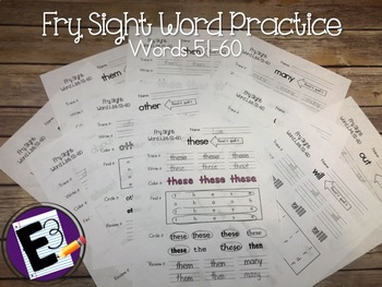Fry Sight Words Practice (words 51-60)