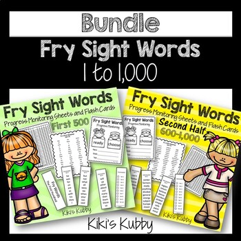 Fry Sight Words: Progress Monitoring Sheets, Word Lists, and Flash Cards BUNDLE