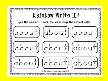 Fry Sight Words Rainbow Write It--First 100 Words