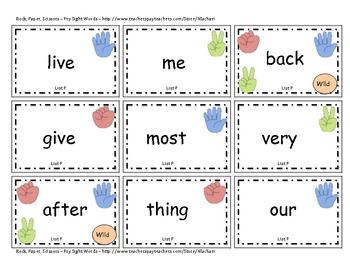 Fry Sight Words -- Rock, Paper, Scissors Game