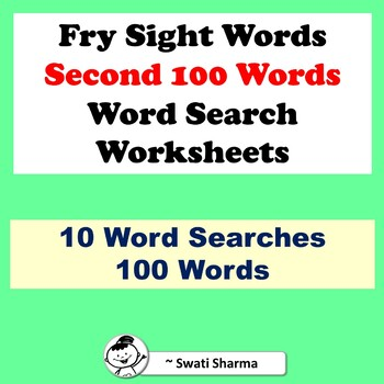Fry Sight Words, Second 100 Words, Word Search Worksheets