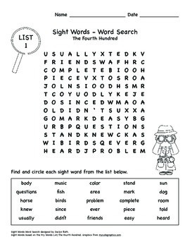 Word Search - Fry Sight Words: The Fourth Hundred