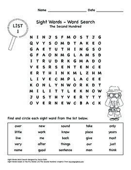 Word Search - Fry Sight Words: The Second Hundred