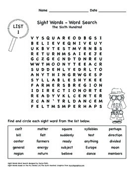 Word Search - Fry Sight Words: The Sixth Hundred
