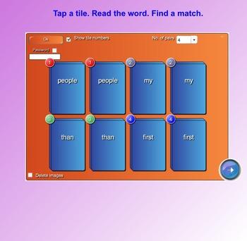 Fry Sight Words SMART Board Tile Match (First 100; List 4)