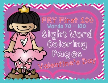 Fry Sight Words Valentine's Day Coloring