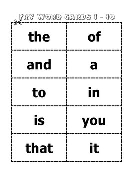 Fry Sight Words Weekly Activity Packet (Words 1-100)
