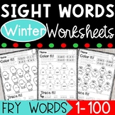 Fry Sight Words Winter Coloring Worksheets - The First 100 Fry Sight Words