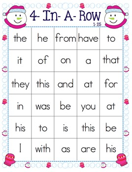 Fry Sight Words- Winter Themed 4-In-A-Row Game Boards
