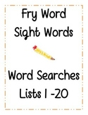Fry Sight Words Word Search Lists 1-20