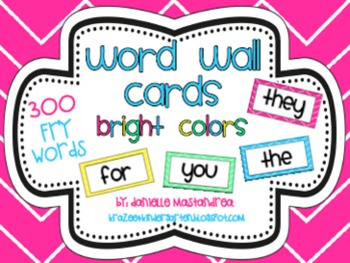 Fry Sight Words / Word Wall Cards in Bright Colors {300 Words}
